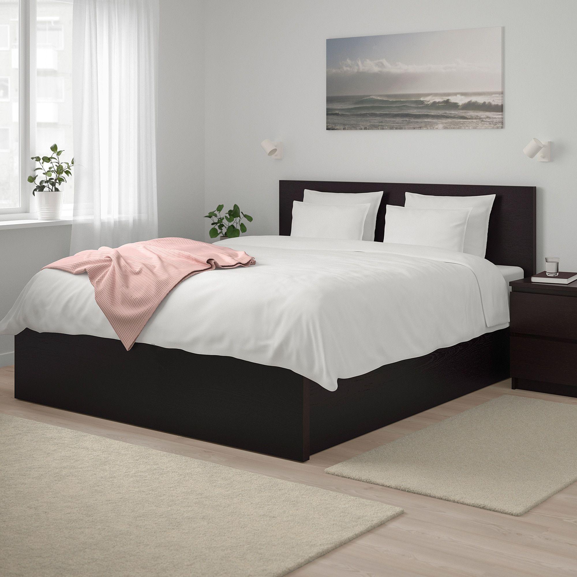 Malm Lit Coffre Brun Noir Ikea Brown Furniture Bedroom Black Bedding Black Bed Frame