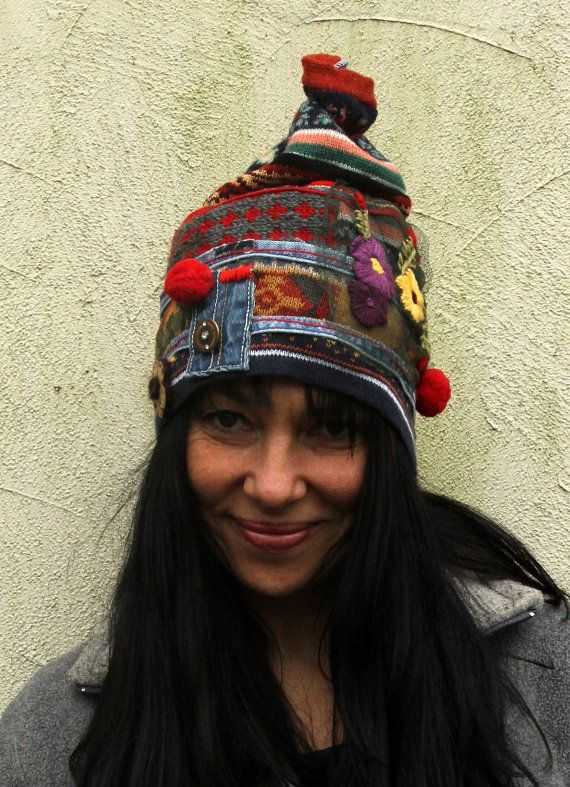 db39ea5ce02 Crazy patchwork winter recycled beanie hat. Made from recycled sweaters and denim  jeans. Hippie boho style. one of a kind. Size  S-M (european 36-38)