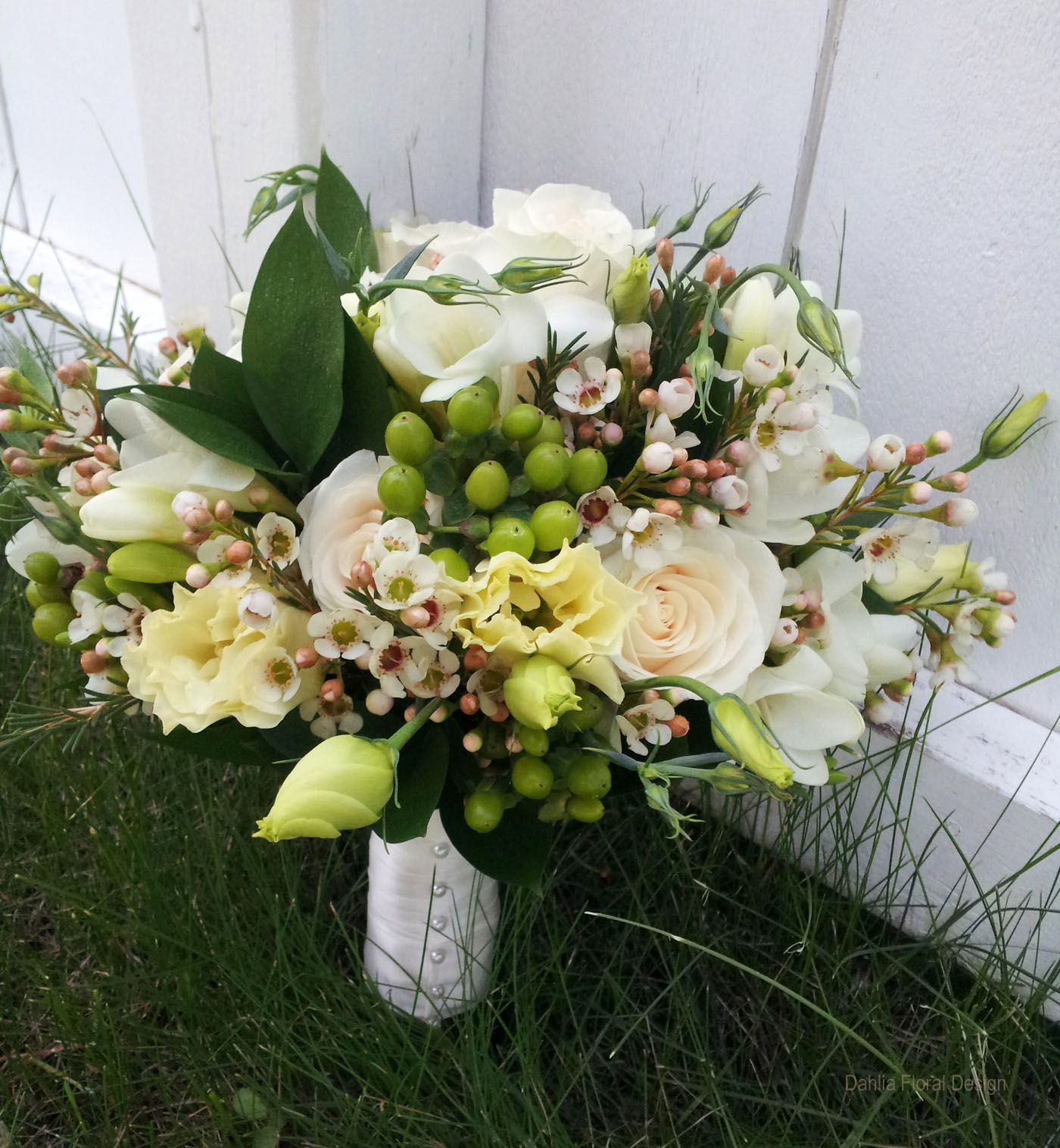 White Wax Flower Delicate White And Green Bridal Bouquet Of