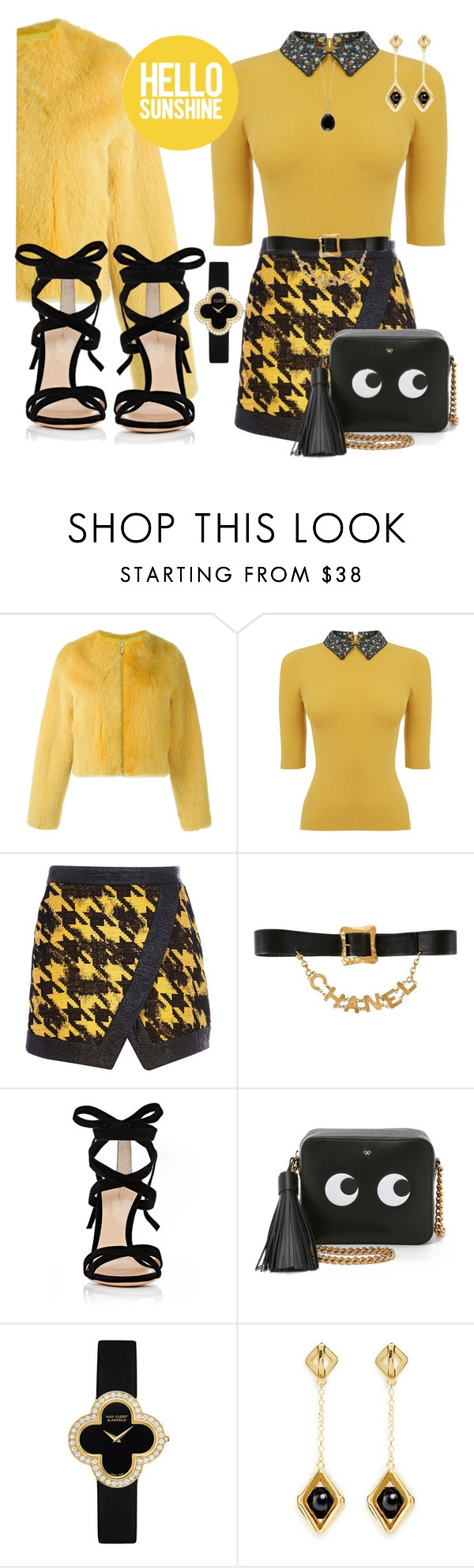 """🌞SUNSHINE🌞"" by ellenfischerbeauty ❤ liked on Polyvore featuring Liska, Oasis, River Island, Chanel, Gianvito Rossi, Anya Hindmarch, Van Cleef & Arpels, W. Britt and Effy Jewelry"