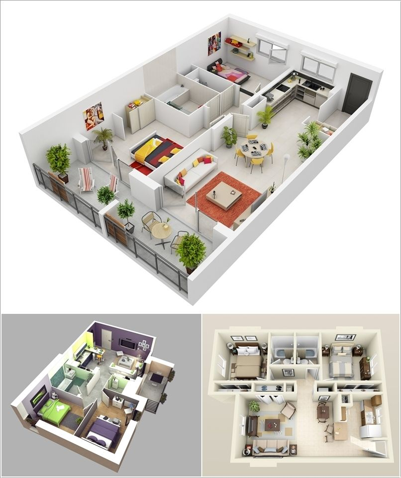 Three Apartments With Extra Special Lighting Schemes: 10 Awesome Two Bedroom Apartment 3D Floor Plans