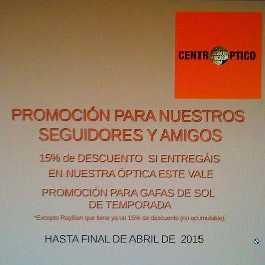 #PROMOCIÓN 15% DE DTO en #GAFAS #SOL #TEMPORADA