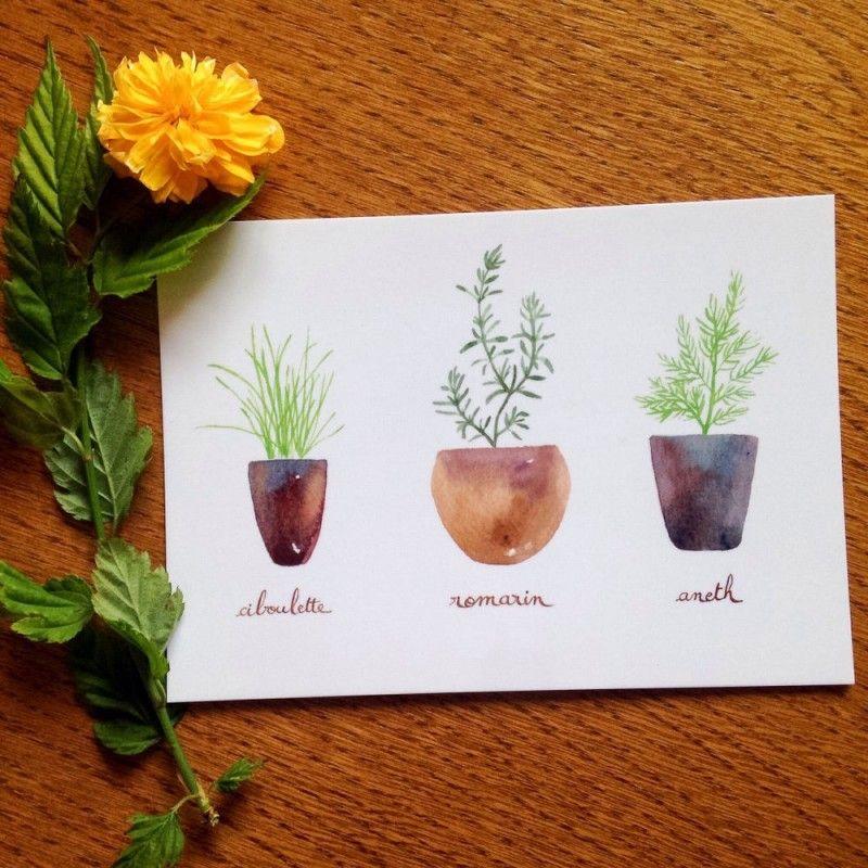 Fresh herbs watercolor card #2