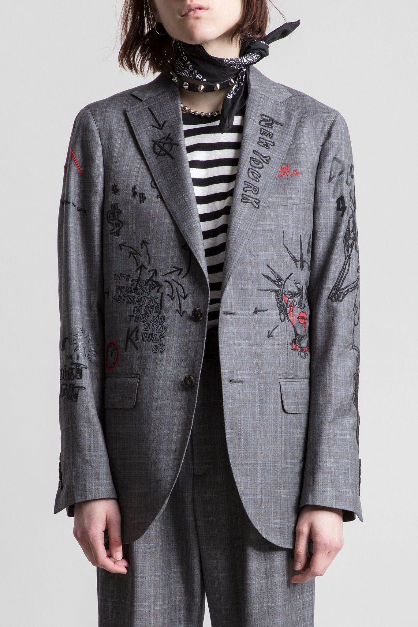 R13 Embroidered Graphic Sport Blazer - L Grey