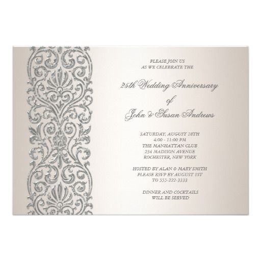 Pearl silver border 25th anniversary party card 25th anniversary 25th anniversary party invitations free pearl silver border 25th anniversary party invitations stopboris Image collections