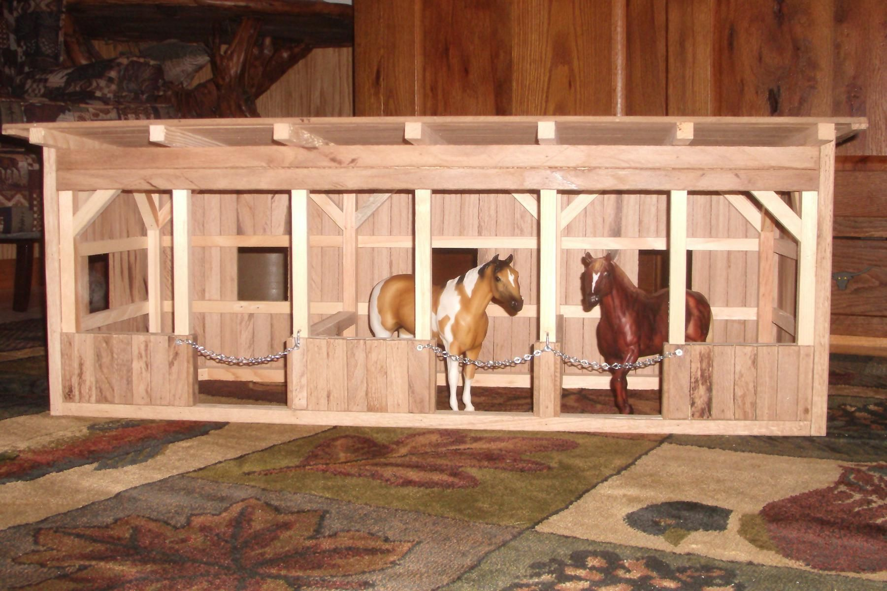 Hand crafted wooden toy barn 1 by wild cat hollow for Horse stable blueprints