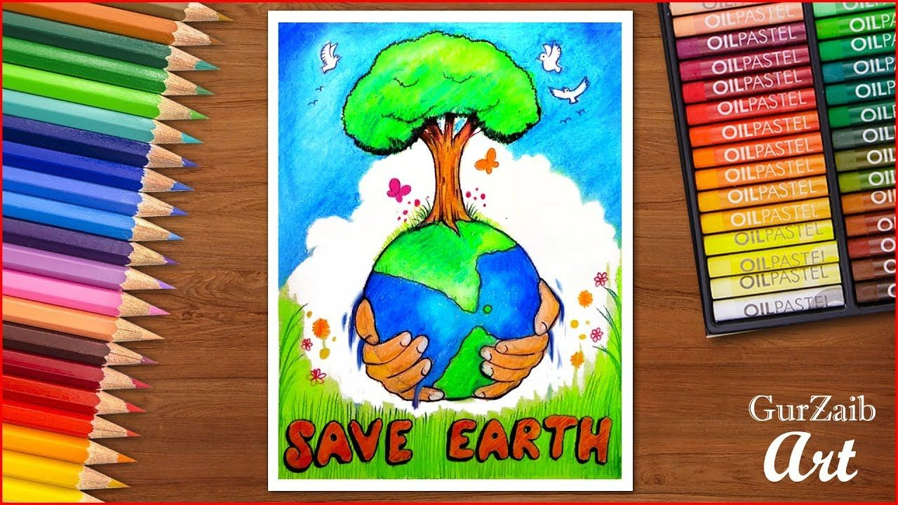 How To Draw Save Earth Poster Chart For School Students Very Easy