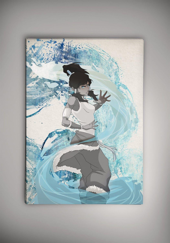Avatar The Last Airbender Anime Manga Watercolor Print Poster Aang Katara Zuko Toph Korra The Last Airbender Anime Avatar The Last Airbender Manga Watercolor