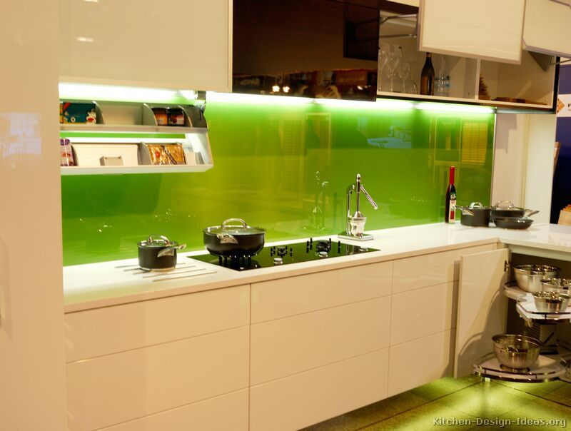Kitchen Of The Day Modern Creamy White Cabinets With A Solid Green Back Painted Glass
