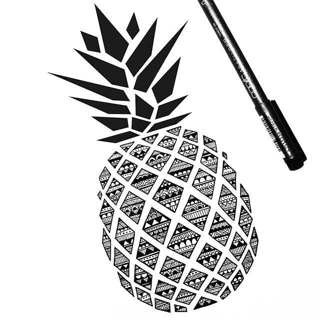 Pineapple Mandala Zentangle Zendoodle Zenart Doodle Doodle Mandala Pineapple Tatt Boyama Sayfalari Mandala Zentangle Desenler Zen Cizimleri