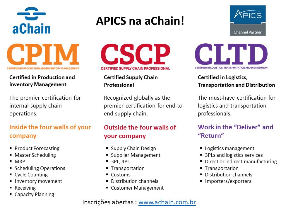 Apics Na Achain Certificaes Cpim Cscp Cltd Conhea Tambm Ppcp
