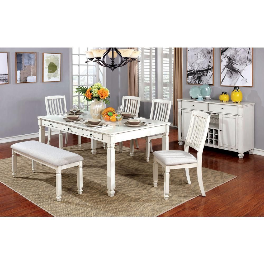 William S Home Furnishing Kaliyah Vintage White Transitional Style Dining Table Country Dining Tables French Country Dining Room Country Dining Rooms