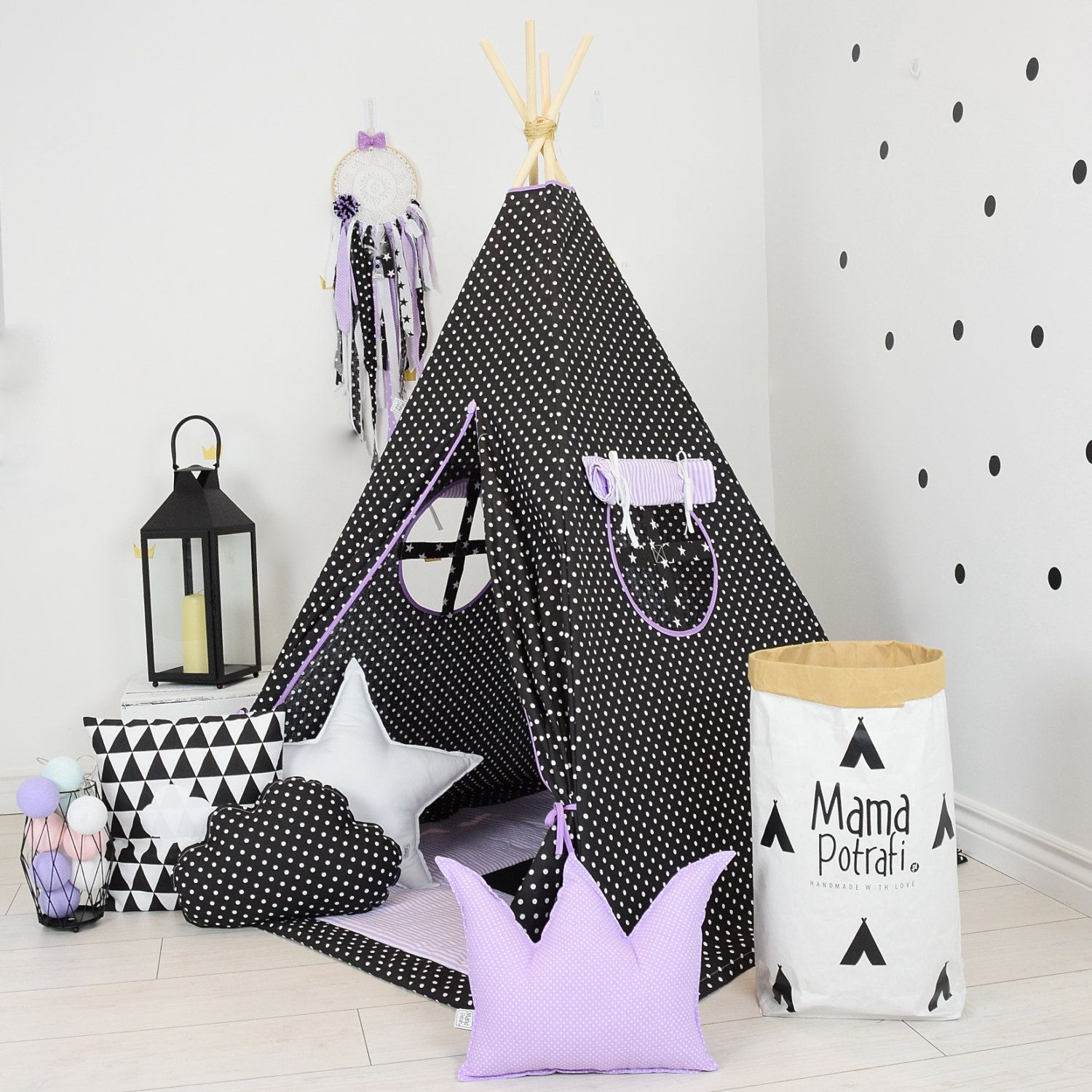 Childrens Tipi Toddler Teepee Tent Black Teepee Dotted Teepee