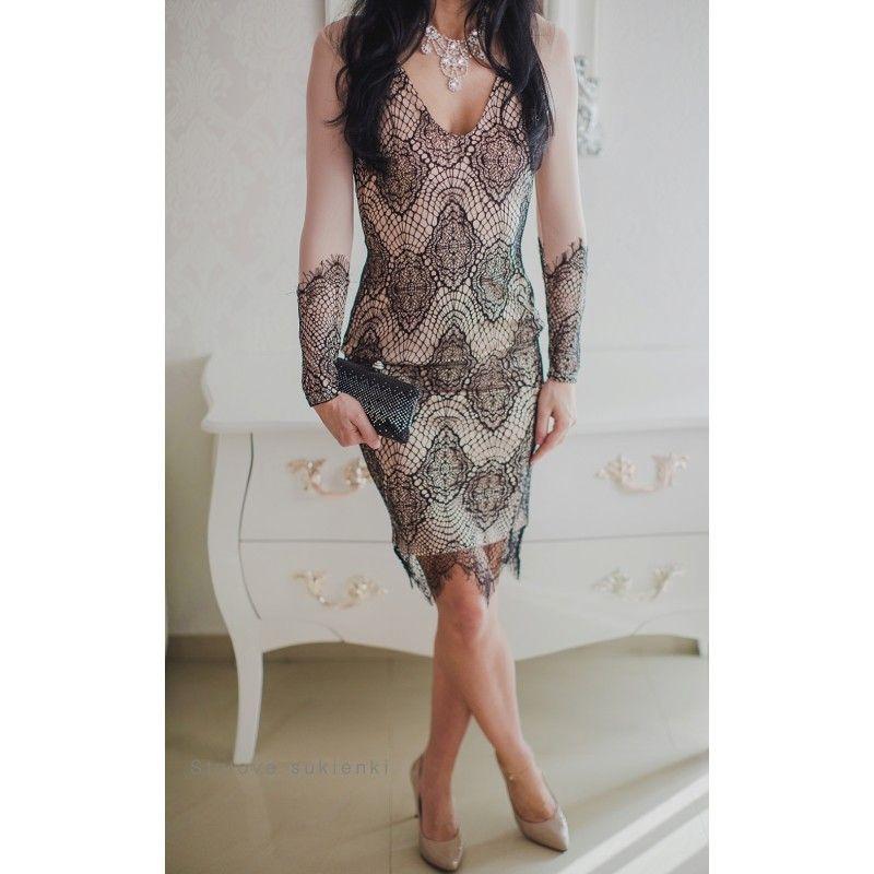 ba8f96584a Elegancka czarna koronkowa sukienka na wesele z siateczką długość midi