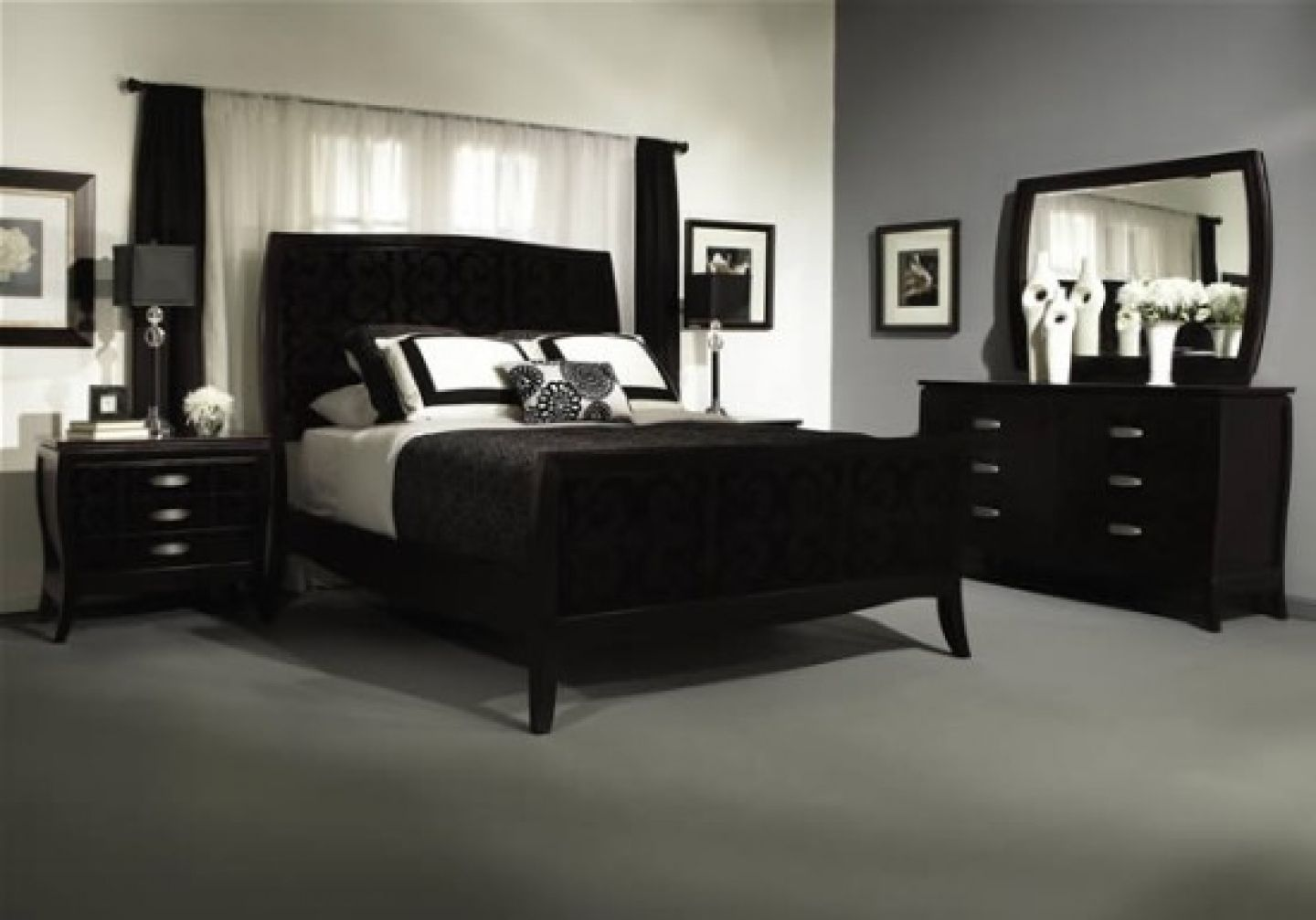Best Accent Wall Ideas Black And White Bedroom With Gray 400 x 300