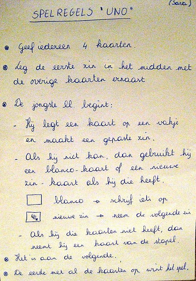 "spel zinnen: ""uno"" (spelregels)   talige taal - language, teaching"