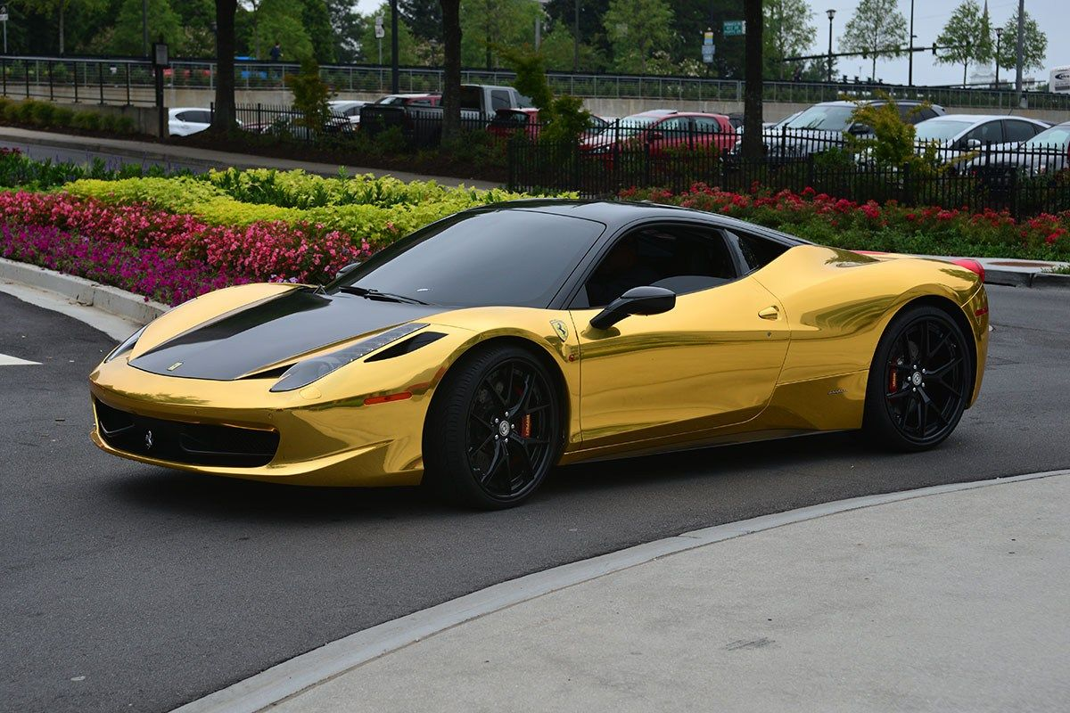 High Quality Ferrari Gold With Black Bonnet Wallpaper Ferrari