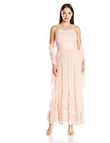 b3a3b608102 Jessica Howard Womens Petite Beaded Yoke Gown