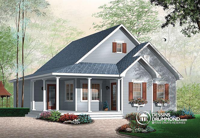 W3108 - Maison champêtre abordable avec 2 chambres et balcon couvert - liste materiaux construction maison