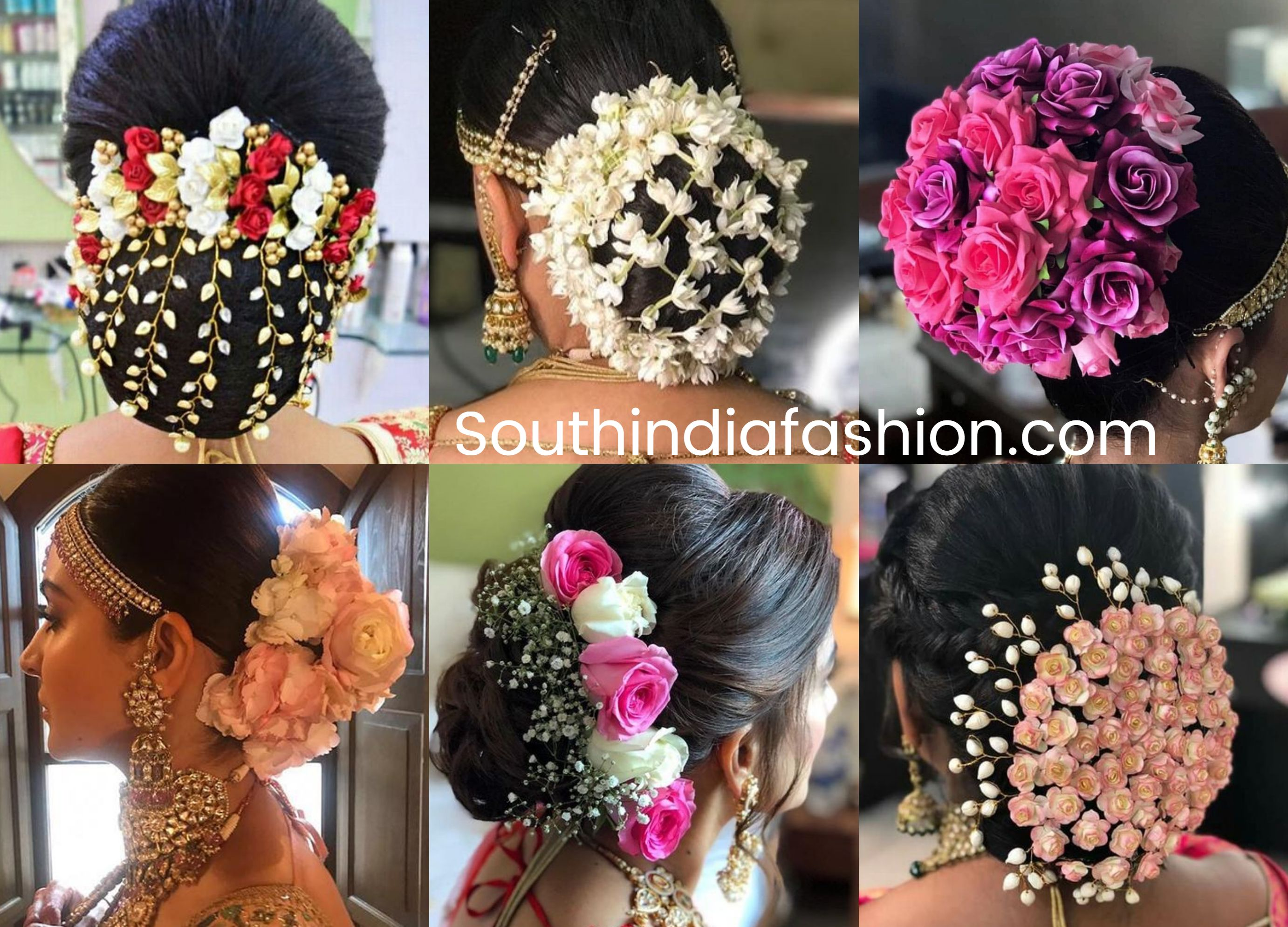 indian wedding bun hairstyle with flowers and gajra! | •hair