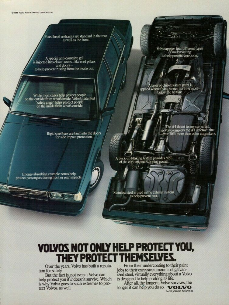 1988 Volvo 740 Car Turned Over Vintage Color Photo Print Ad Volvo Volvo 740 Volvo Print Ads