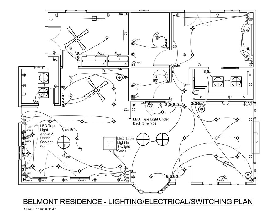 Autocad Kitchen Lighting Plans