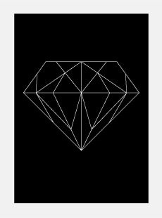 Via Big Cartel | Kathapult Single Diamond Poster | Black and White