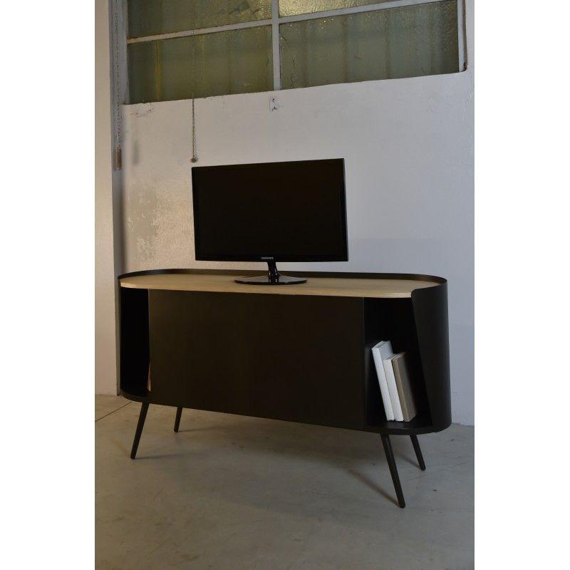buffet de salon petit meuble tv mtal noir chne - Buffet De Salon