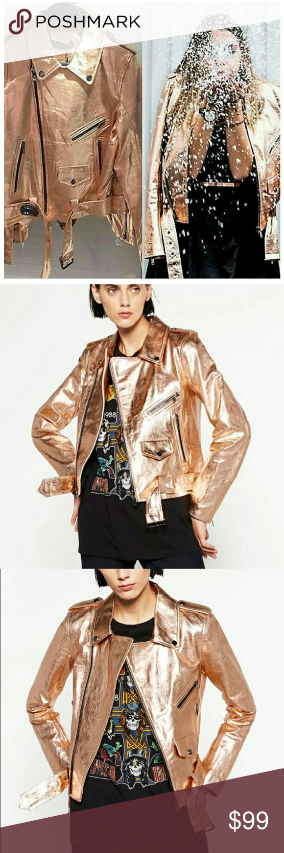 Zara Pink Rose Gold Metallic Leather Jacket Authentic Zara