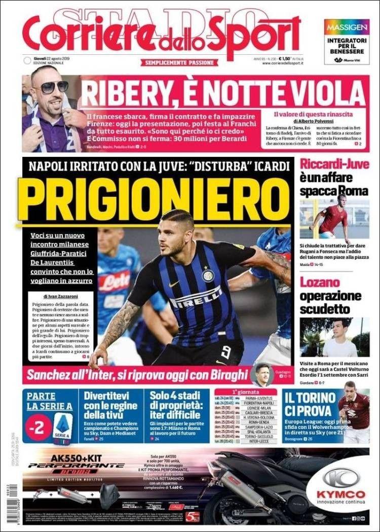 Corriere dello Sport (22 de agosto de 2019) (con imágenes