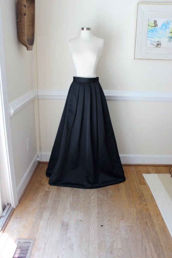 Long, Black, Ball Gown, Skirt, Extra Long Formal Skirt, Size Medium ...