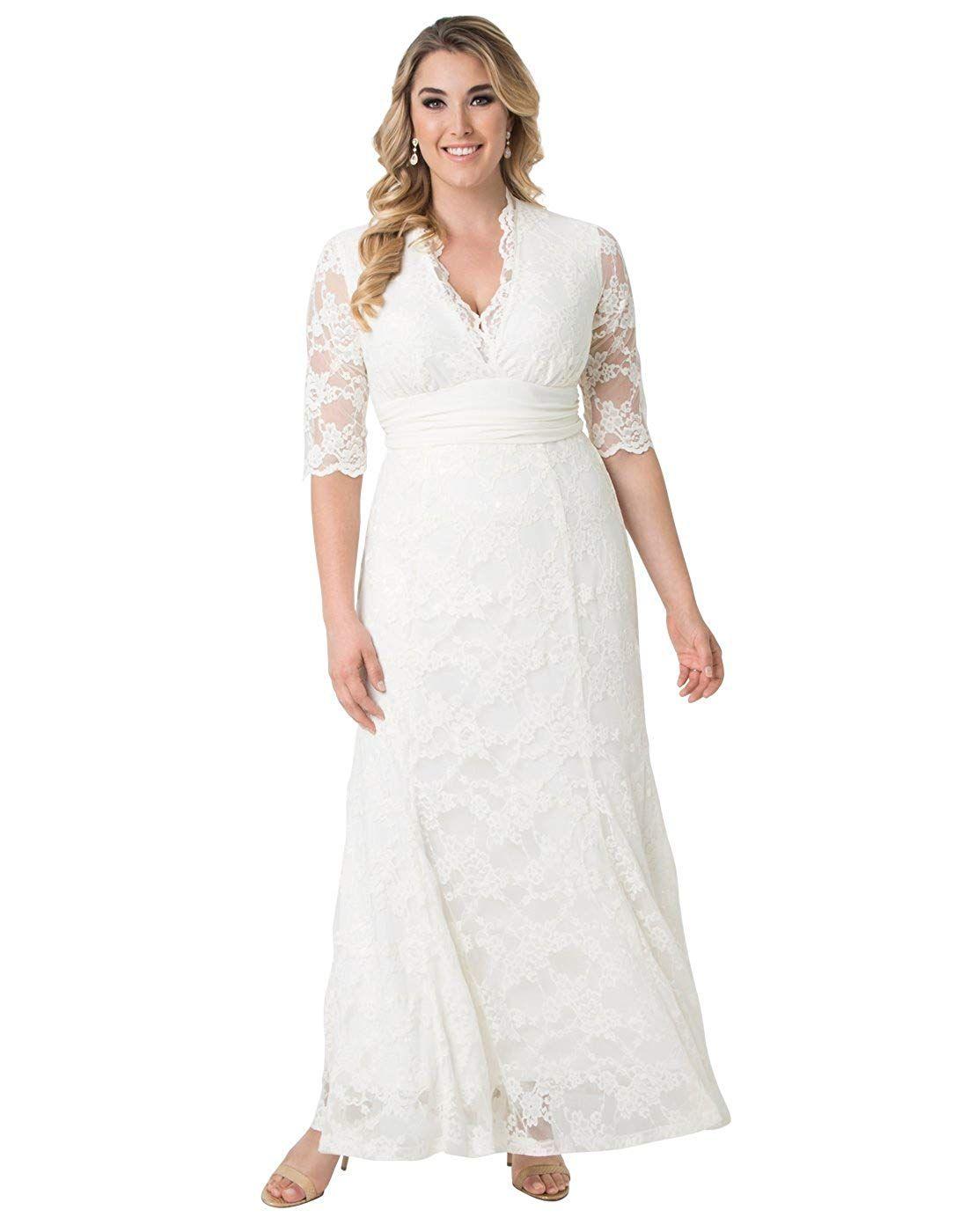 Kiyonna Women S Plus Size Amour Lace Wedding Gown At Women S Clothing Store Kiyonna Women S Plus Lace Evening Gowns Lace Dress Long Evening Dresses Prom [ 1400 x 1100 Pixel ]