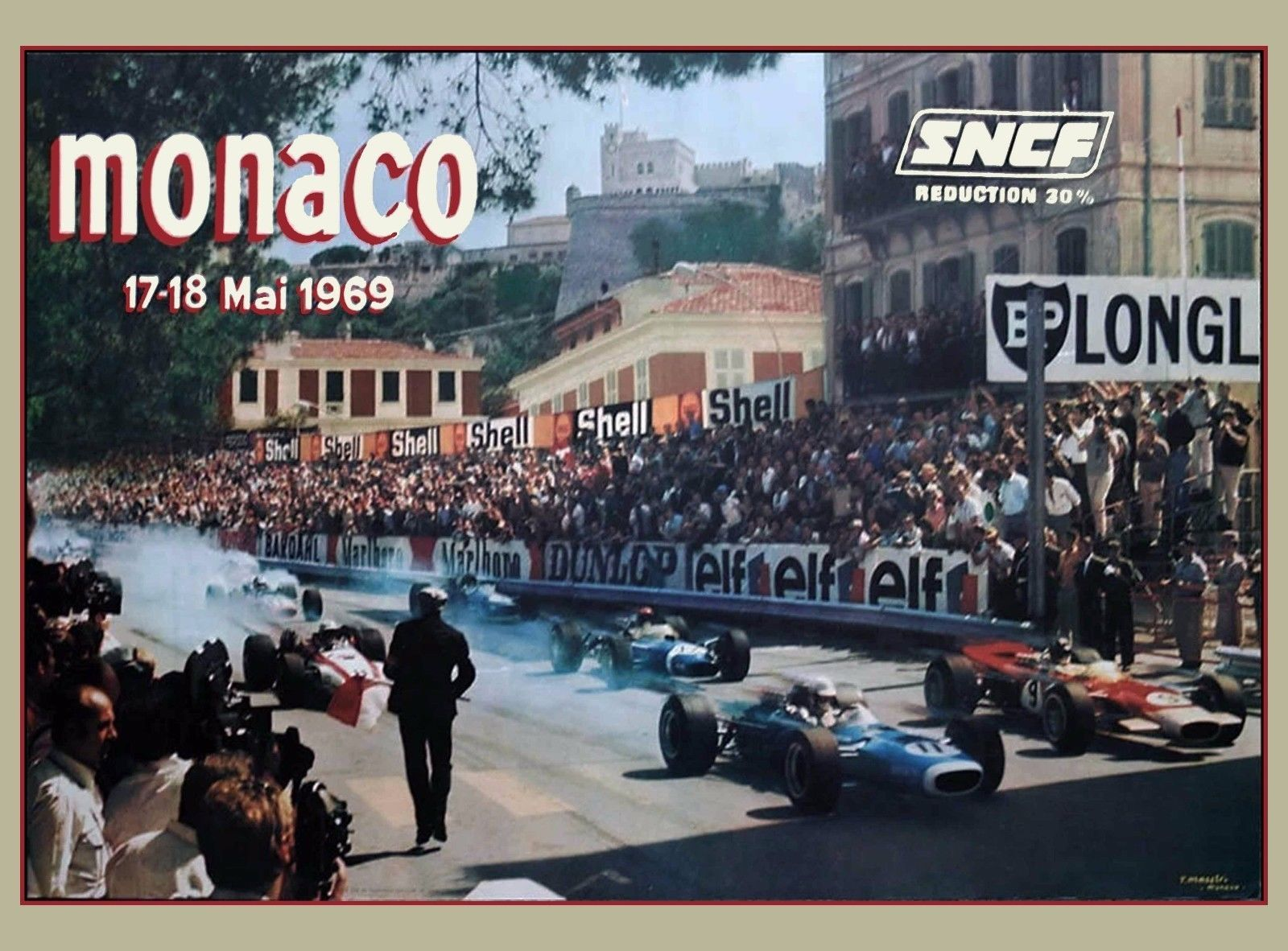 1969 Monaco 27th Grand Prix Automobile Race Car Advertisement Vintage Poster