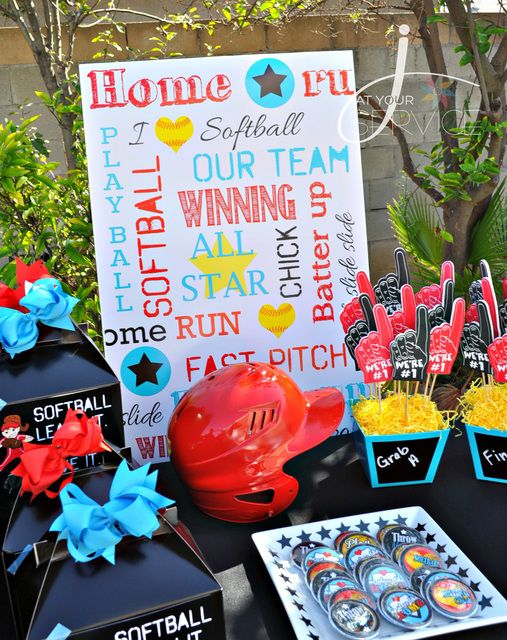 Awesome Decorations At A Baseball Party See More Ideas