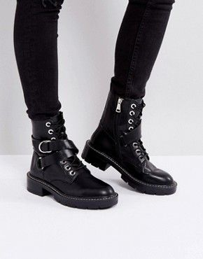 New In Shoes for Women | ASOS in 2019 | Worker boots, Buckle