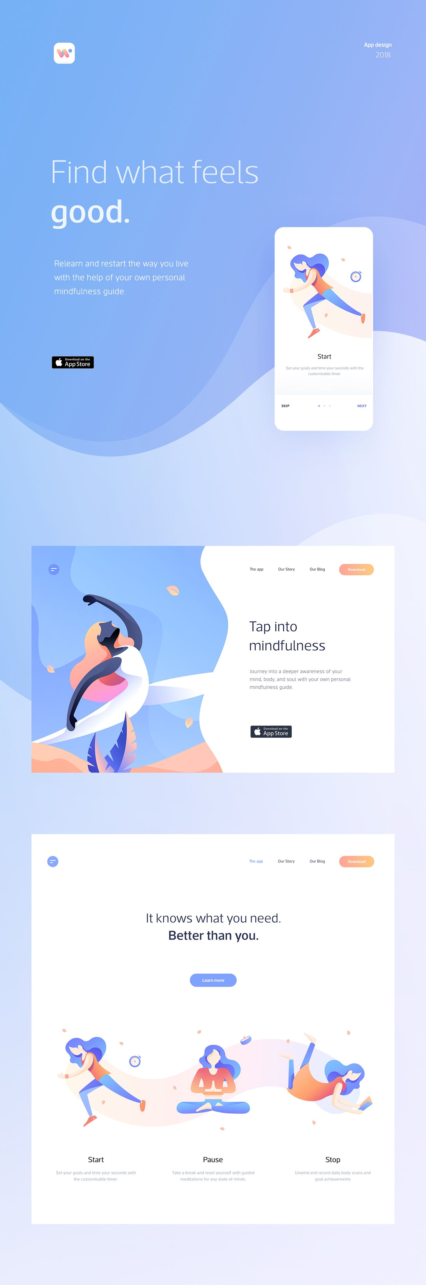 UI/UX & web design for a mobile app which helps users lead a life of mindfulness.