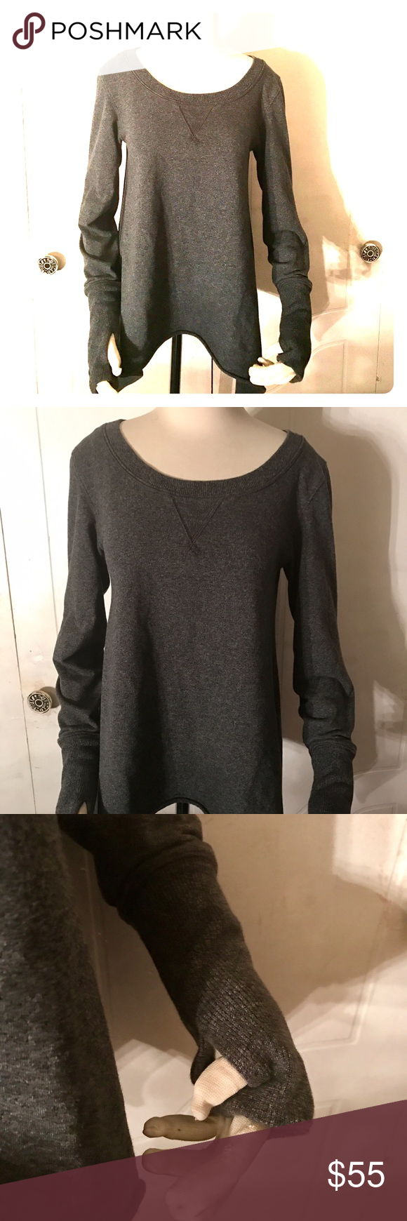 Lululemon asymmetrical hem pullover sz 4 THE sweater you'll just want to live in forever. Super comfortable with thumb holes. Pair with your favorite leggings and sneakers for a chic comfy look lululemon athletica Sweaters