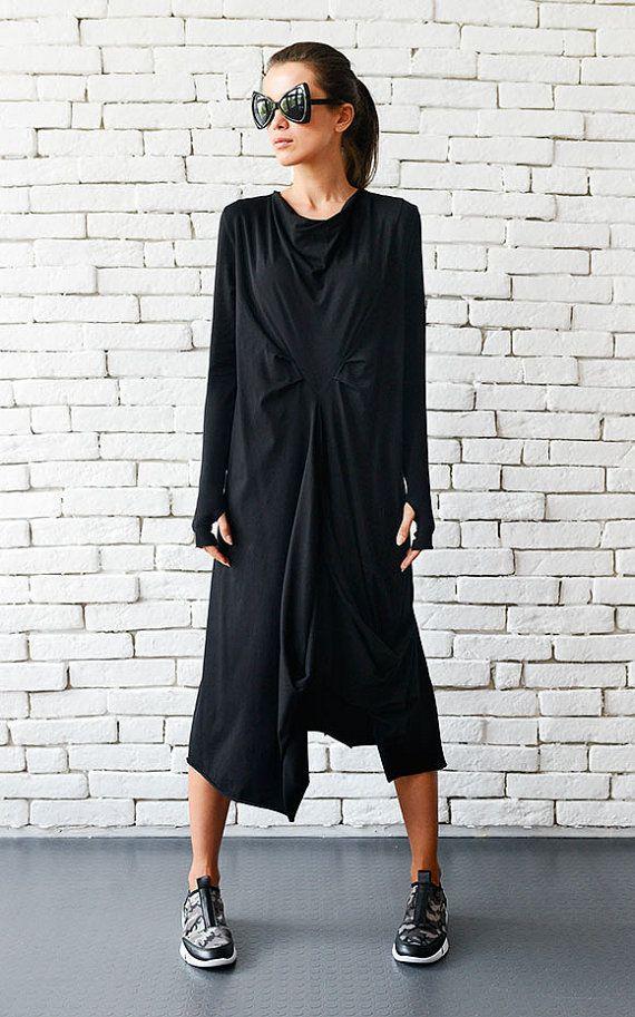 b18251cd755 Loose Black Dress Asymmetric Long Tunic Black Kaftan Maxi Black ...