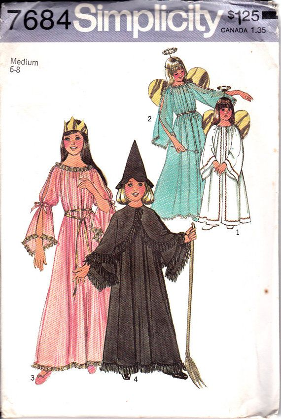Simplicity 7684 Girls Angel Fairy Witch Princess Gown and Cape ...