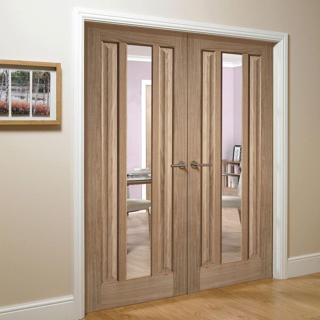Kilburn 1 Pane Oak Door Pair Clear Glass Double Doors Interior Internal Doors Oak Doors