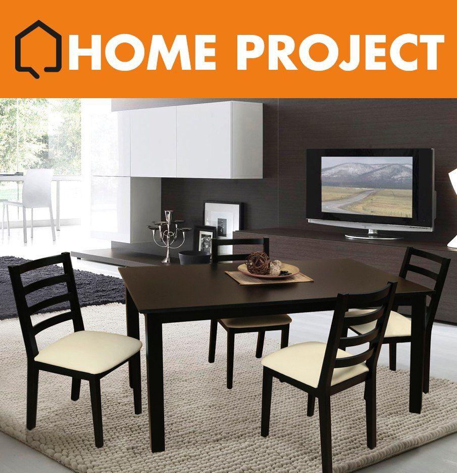 Juego mesa maciza 160x90 4 sillas madera combo tono for Juego mesa cocina
