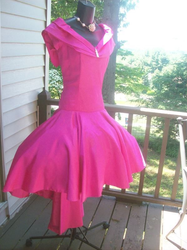 80s Prom Dress Authentic Vintage hot pink wild child M med hi low ...