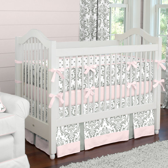 Girl Baby Crib Bedding: Pink and Gray Traditions Damask Crib Bedding ...