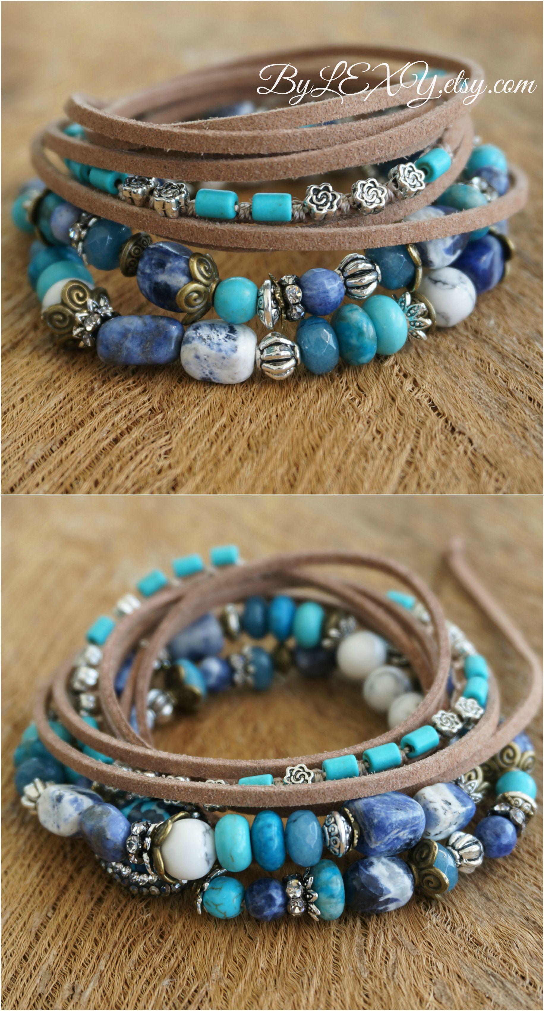 Set Of 3 Bohemian Coastal Gems Stack Wrap Bracelets Boho Chic Rustic Gypsy