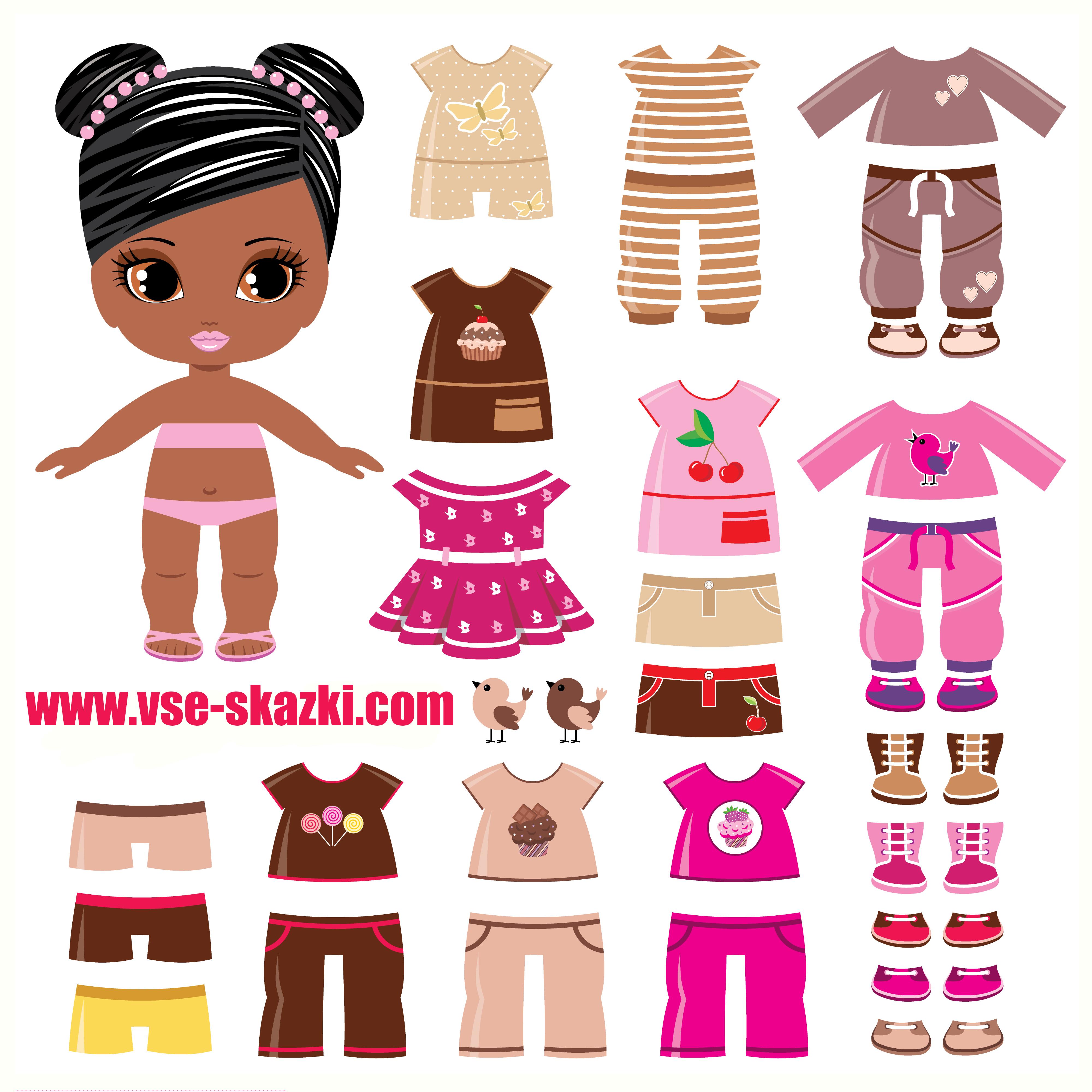 Чернокожая малышка - бумажные куклы с одеждой для ...