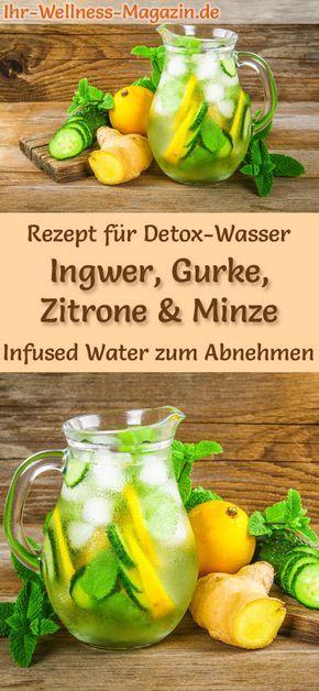 Detox-Wasser - Rezept für Ingwer-Gurken-Zitronen-Minze-Wasser: Infused Water bzw. Detox-Wasser hilft beim Abnehmen, ist gesund, hat fast keine Kalorien, entwässert, entgiftet und entschlackt den Körper #abnehmen #DetoxWasser #sommer #zuckerfrei