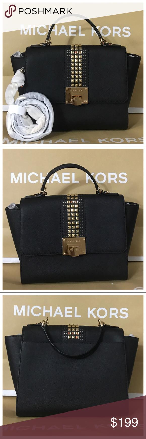 27fb3c37cee7af Nwt mk tina medium studded leather satchel-black MICHAEL Michael Kors  Michael Kors Tina Medium