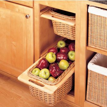 Pull Out Wicker Storage Baskets For Kitchen Cabinet By Rev A Shelf