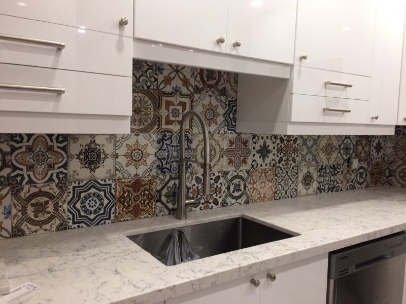 Beautifully Updated Kitchen Backsplash With 8x8 Marrakech Tiles A