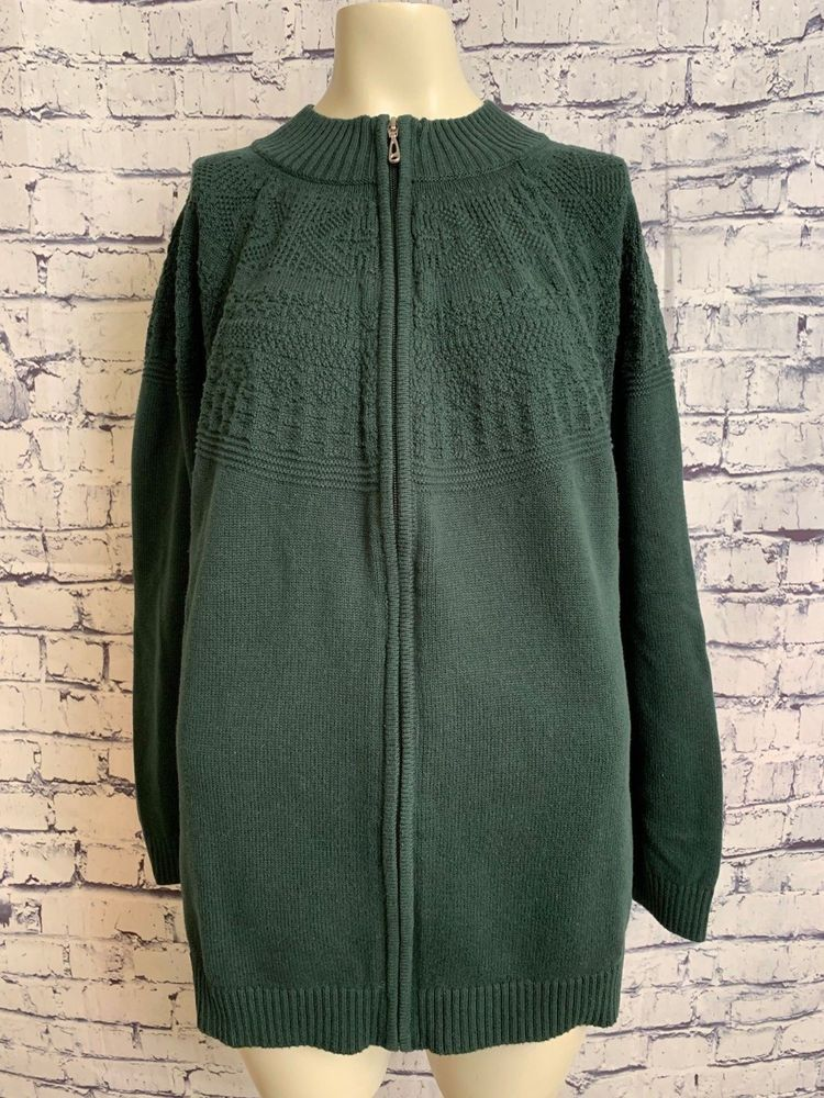 CJ Banks Women Plus Size 3X Dark Green Long Sleeve Cotton ...